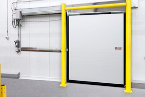 Single Sliding Flexible Panel Impactable Doors for Cold Storage Environments